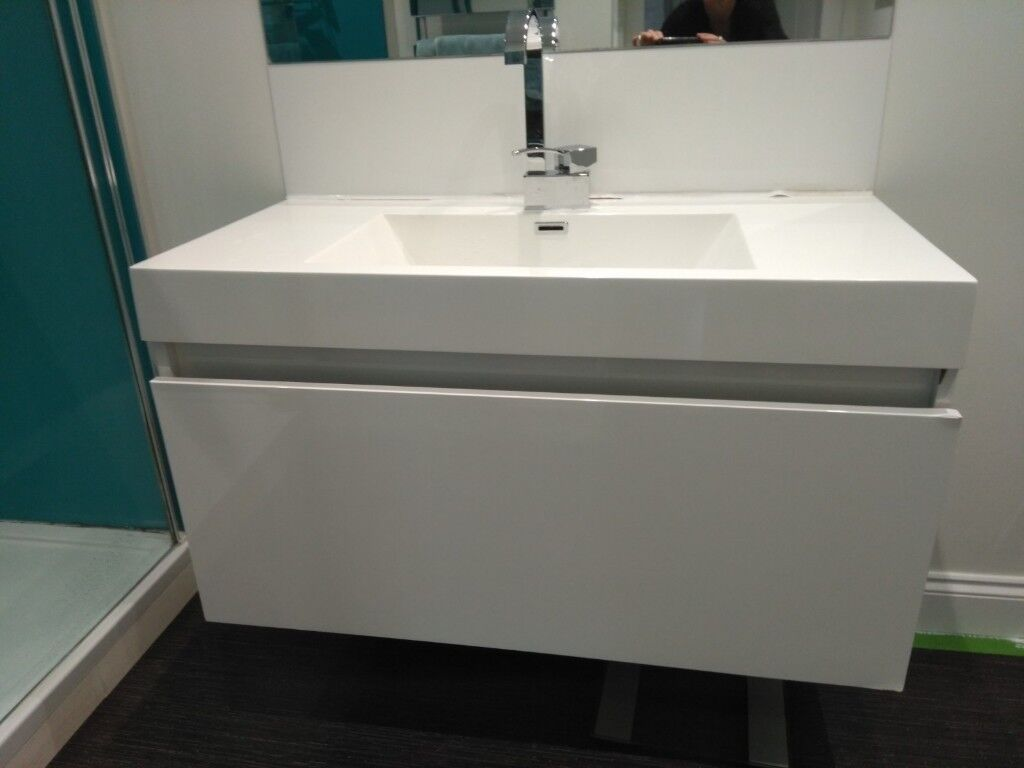 Extra Large Basin With Wall Hung Unit White Gloss 100mm