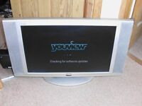 Flatscreen tv with remote and Youview box