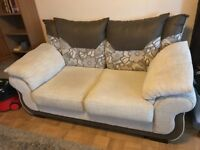 Cream and brown two seater sofa