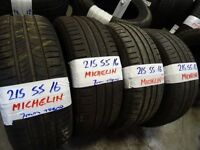 MATCHING SET 215 55 16 MICHELINS 6MM TREAD £25 EACH £90 SET SUPP & FITTED (loads more av} TXT S