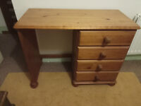 pine desk / dressing table. 4 draws. solid wood