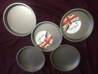 "5x Victoria Sandwich Cake Tin Pan 7"""