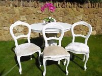 Elegant White Shabby Chic Louis Style Table & 4 Chairs Painted in Laura Ashley