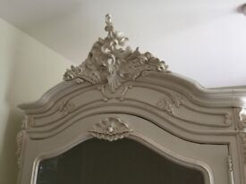 French Armoire, Chest of Drawers and Wall Mirror set