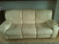 Free for collection. Cream leather sofa in good condition, must go by the weekend