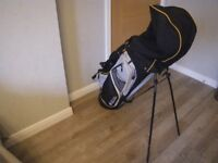 PETER ALLISS TOUR SERIES (TS) GOLF BAG + HOOD. RARELY USED. BLACK and GREY. GREAT CONDITION.