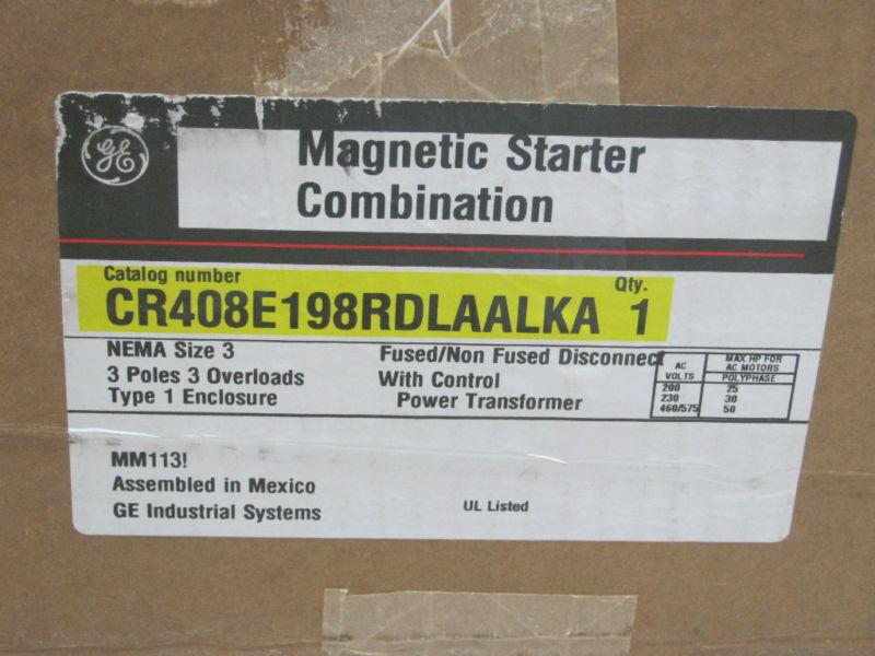 GE Motor Controller with Enclosure CR408E198RDLAALKA