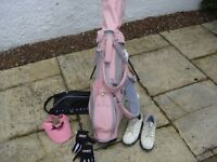 Gorgeous Girls/Ladies Pink Golf Bag & 5 Clubs complete with shoes, gloves.....................