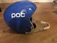 POC ski race helmet and chin guard.