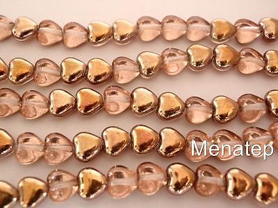 50 6 X 6 Mm Czech Glass Heart Beads  Apollo Gold