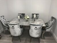Louis marble dining table + 6 french grey knocker back chairs