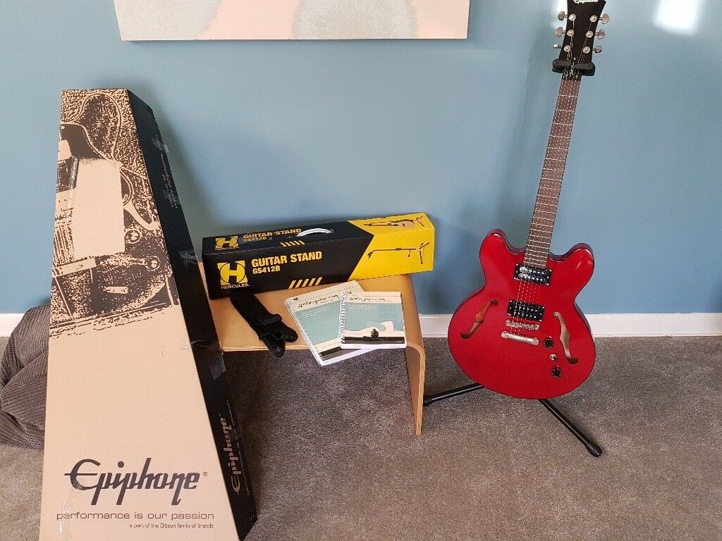 Semi Acoustic Guitar Epiphone Dot Studio Gloss Cherry, Hercules Stand & Accessories Original boxing.