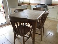 Shabby chic country style kitchen table and chairs