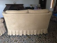 Gold 2-seater sofa with 2 matching scatter cushions and footstool