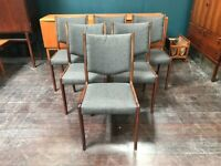 Set of 6 Danish Dining Chairs in Rosewood by S.A.X. Retrp Vintage Mid Century 1960s
