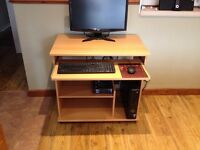 PC desk/workstation ideal for small office or students bedroom in pine colour