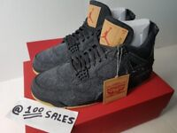Nike Airjordan 4 x Levis NRG Black Denim Jeans Collaboration UK10 US11 EU45 NIKE RECEIPT 100sales