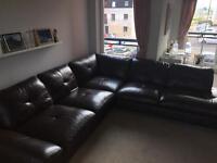 Gorgeous large dark chocolate coloured leather corner sofa