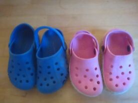 Two pairs of crocs