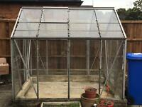 Aluminium Frame Greenhouse With Glass Panes Door Windows Vents