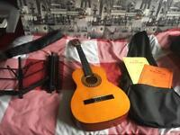 3/4 Stagg Guitar- carry case, 2books& music stand