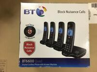BT 6600 quad Cordless phone with answering and call blocker new
