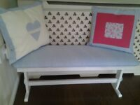 Pretty bench refurbished in light blue gingham .white washed wood with blue hearts on end.