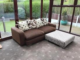 Dfs 3 Seater + Large Footrest / Corner Sofa Fabric Good Condition Chrome Feet