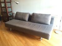 Charcoal MUJI 2 seater sofa bed and footstool/mattress