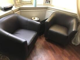 Faux leather chairs