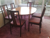 BEAUTIFUL TEAK WOOD DINING TABLE AND 6+ CHAIRS BY MORRIS OF GLASGOW