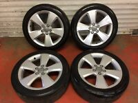17'' GENUINE AUDI A3 ALLOY WHEELS TYRES 5 SPOKE S LINE A4 GOLF CADDY JETTA