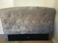Double bed silver/grey crushed velvet headboard
