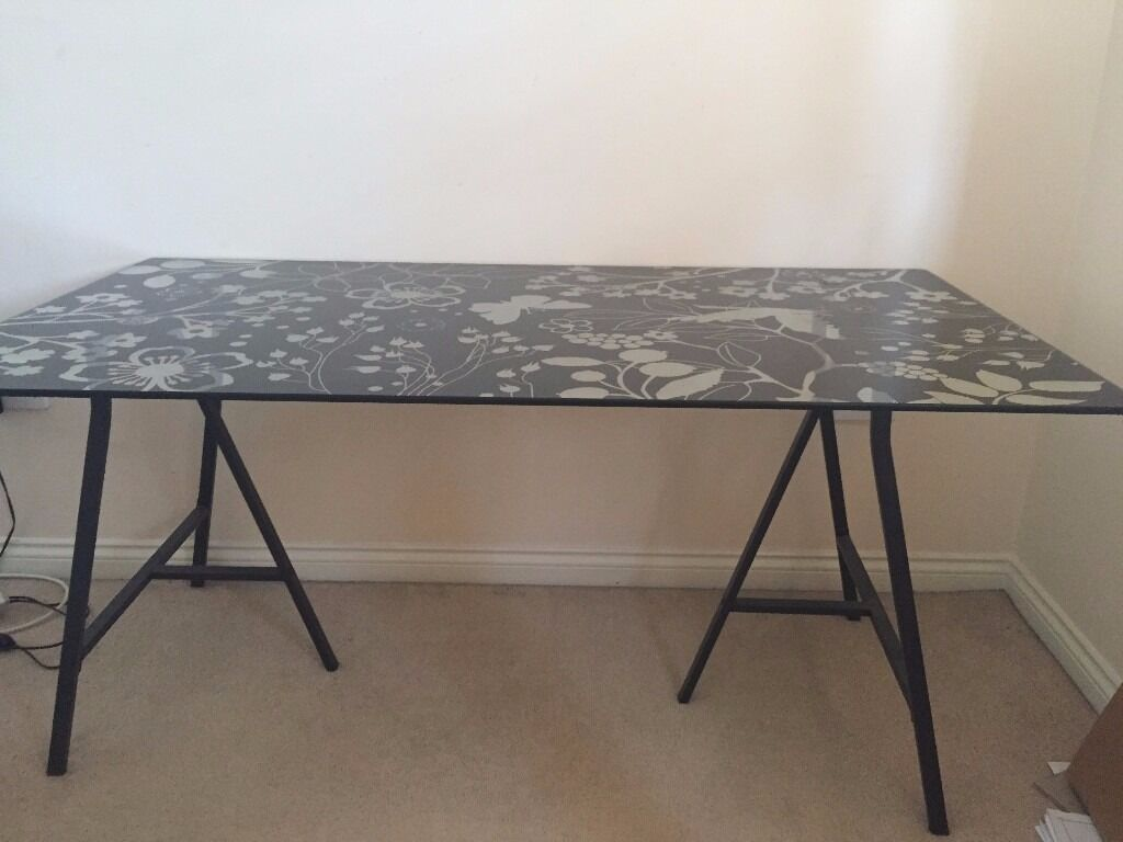 Ikea glass top desk in bracknell berkshire gumtree for Ikea glass table tops