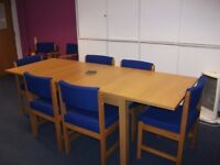Table Ikea Bjursta 140/180/220x84 Oak Veneer 801.162.66, also 8 blue chairs.