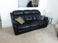 Black Leather 3 Seater Recliner Sofa and Recliner Chair