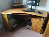 Large corner computer pine desk