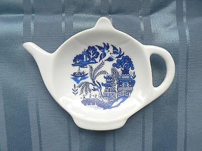 Blue Willow Porcelain teabag tidy spoon rest teapot