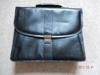 Lovely Quality Black Leather Briefcase with Leather Shoulder Strap