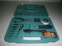 Screwdriver, spanner, alan key, etc set in carrying case