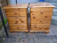 Pine bedside tables-pair-VGC