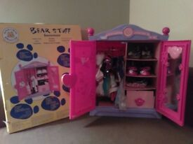 Build a Bear Wardrobe with accessories and a talking bear