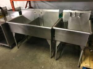 Heavy duty single double and triple stainless sinks ( like new ) some with faucets $349-$495 ( save$$ )