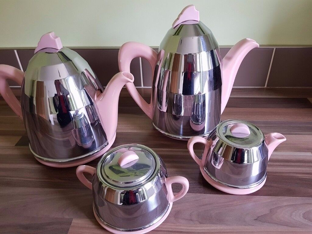 Vintage / Art Deco 1950's Pottery & Chrome Insulated Coffee / Tea Set -Shabby Chic