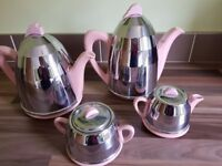 Vintage / Art Deco 1950's Pottery & Chrome Insulated Coffee / Tea Set -Shabby Chic