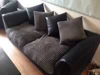 3 and 2 seater sofa set grey corduroy and black leather - only 2 months old hardly used