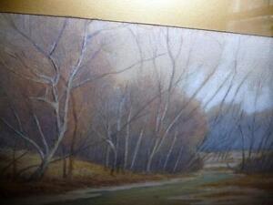 "Antique Winter Watercolor S. K. Davidson ""Winter River"" 1916 Stratford Kitchener Area image 4"