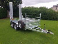 New car trailer twin axle with brakes and loading ramps 10 x 5