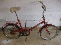Vintage Retro Folding Bike, 'Wanderer' by Halfords, Over 30 Years Old