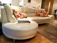 Corner beige leather sofa, very good condition, pick up only from Maida Vale